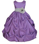 ekidsbridal Wedding Taffeta Purple Bubble Pick-up Flower Girl Dress Toddler Gown 301s S