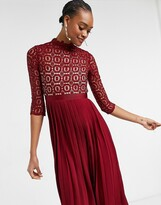 Thumbnail for your product : Little Mistress 2 in 1 crochet lace dress with pleated skirt in oxblood