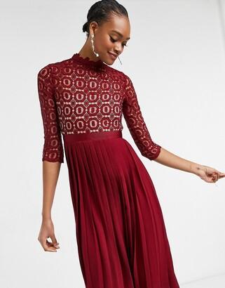 Little Mistress 2 in 1 crochet lace dress with pleated skirt in oxblood