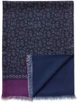Charles Tyrwhitt Navy Printed Paisley Wool Scarf