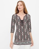 White House Black Market Three-Quarter Sleeve Printed Tunic