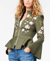INC International Concepts Petite Embroidered Cropped Peplum Jacket, Created for Macy's