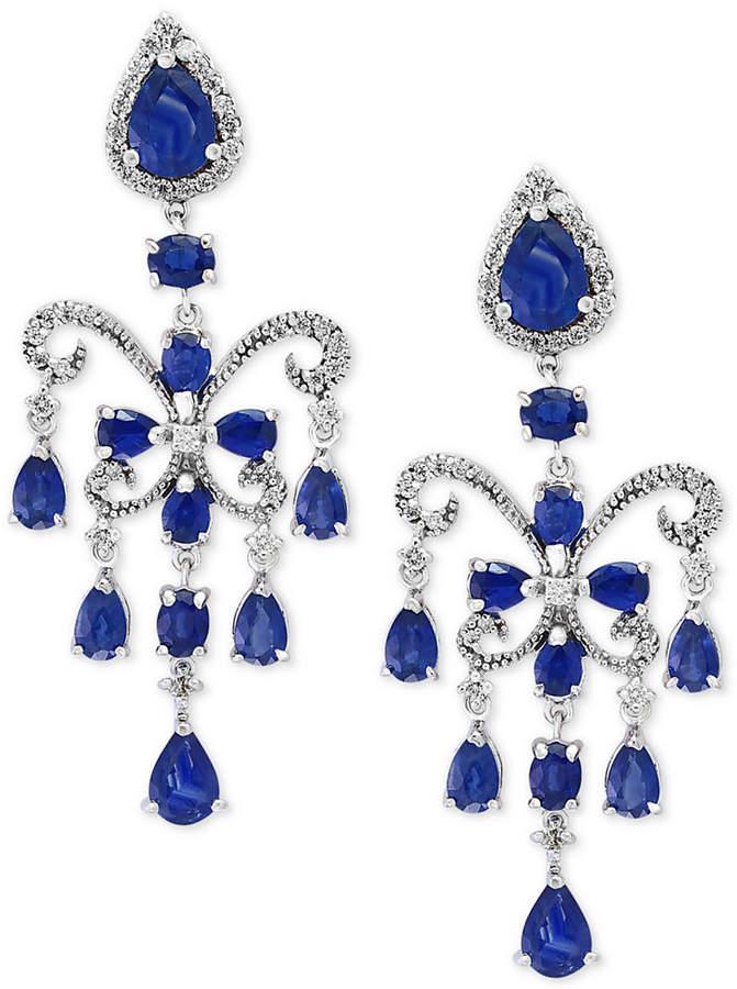 Effy Final Call by Sapphire (7-1/2 ct. t.w.) & Diamond (5/8 ct. t.w.) Chandelier Earrings in 14k White Gold