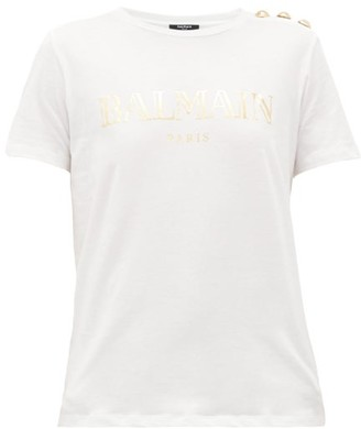 Balmain Buttoned-shoulder Logo-print Cotton T-shirt - Womens - White Gold