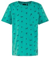 Ikks Green Palm Tree and Tiger Print Tee