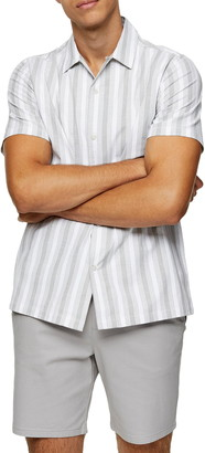 Topman Oxford Stripe Revere Collar Short Sleeve Button-Up Shirt