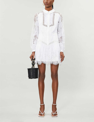 Self-Portrait Lace-panel cotton-poplin mini dress