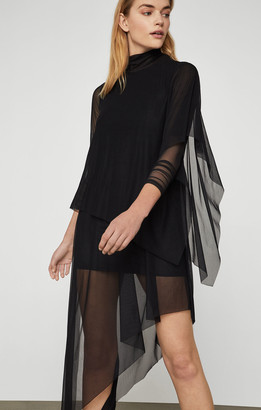 BCBGMAXAZRIA Asymmetrical Turtleneck Midi Dress