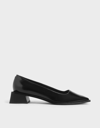 Charles & Keith Square Toe Block Heel Court Shoes