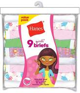 Hanes Girls' No Ride Up Cotton Colored Briefs 9-Pack
