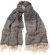 Isabel Marant Clemence Herringbone Cashmere, Wool And Silk-blend Scarf - Navy
