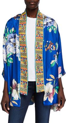 Johnny Was Onyx Reversible Silk Kimono