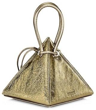 Nita Suri Lia Volcanic Pyramid Leather Top Handle Bag
