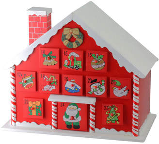 Northlight 10.25In Red & White Candy Cane Advent House With Chimney Storage Decorative Box