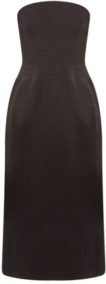 Marina Moscone - Strapless Wool-blend Satin Midi Dress - Womens - Black