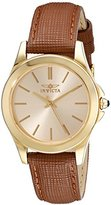 """Invicta Women's 15150 """"Angel"""" 18k Yellow Gold Ion-Plated Stainless Steel and Brown Leather Watch"""