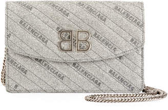 Balenciaga BB Glittered Leather Wallet On Chain