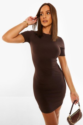 boohoo Rib Short Sleeve Bodycon Mini Dress