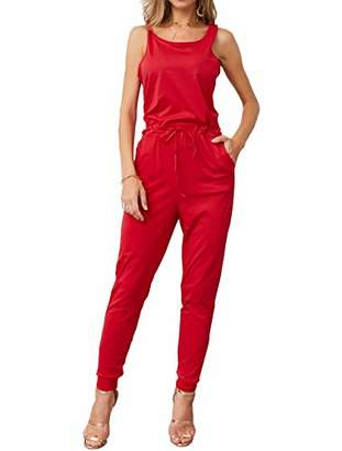 KIRUNDO Women's 2019 Summer Solid Casual Sleeveless Drawstring Waist Long Pants Rompers Jumpsuits with Pockets (