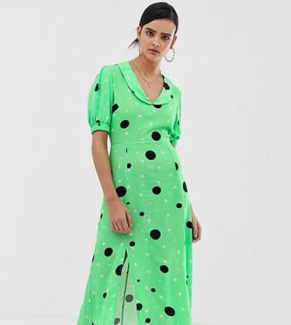 Reclaimed Vintage inspired midi tea dress in spot ditsy print-Multi