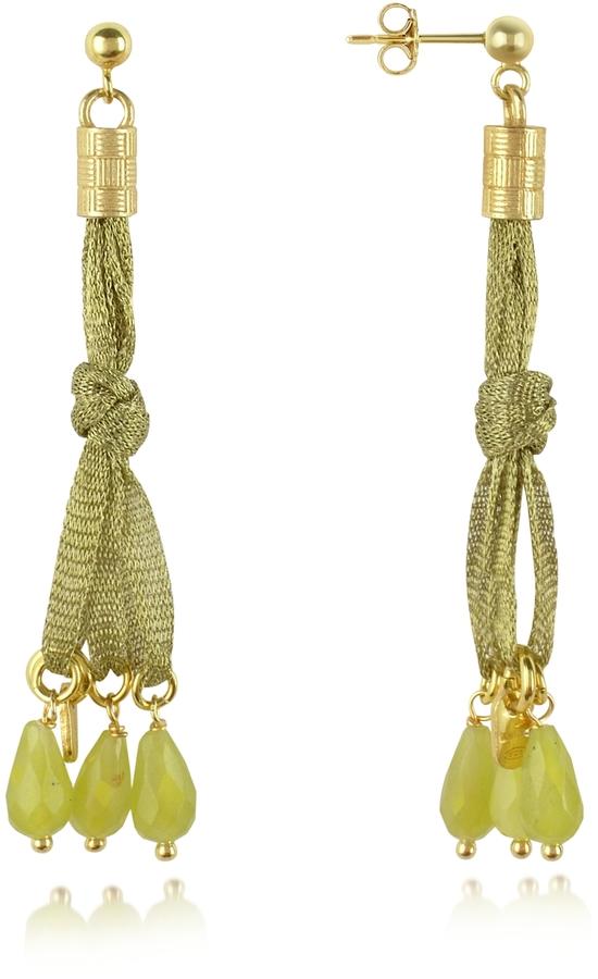 Daco Milano Jade Sterling Silver Lace Drop Earrings
