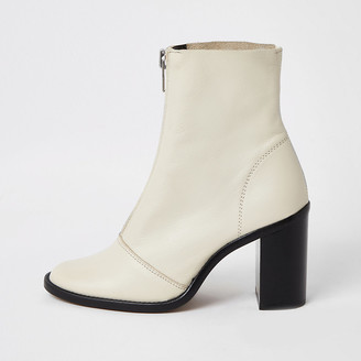 River Island Ecru leather zip front heeled boots