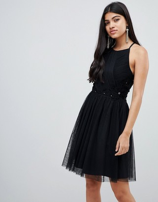 Little Mistress pleated mini skater dress in black