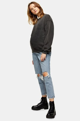 Topshop Womens **Maternity Bleach Wash Over The Bump Ripped Joni Jeans - Bleach Stone