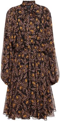 Giambattista Valli Pussy-bow Grosgrain-trimmed Floral-print Silk-chiffon Mini Dress