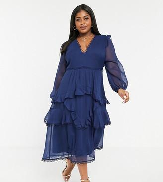 ASOS DESIGN Curve midi dress with long sleeve and circle trim