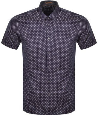 Ted Baker Sortit Geo Short Sleeved Shirt Navy