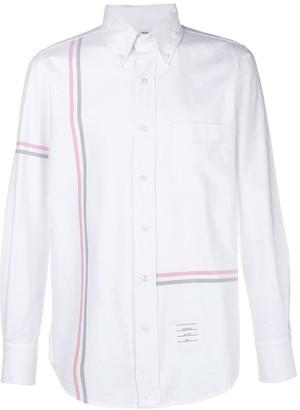 Thom Browne Rwb Stripe Straight-Fit Oxford Shirt