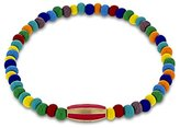 Luis Morais 14ct Yellow Gold Stripped Long Bead with Pink Enamel Bracelet