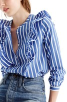 J.Crew Women's Ruffle Stripe Shirt
