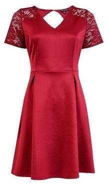 Dorothy Perkins Womens **Burgundy Lace Top Skater Dress