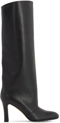 Manolo Blahnik 90mm Khomobi Leather Tall Boots