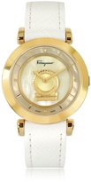 Salvatore Ferragamo Minuetto Gold IP Stainless Steel Case and White Leather Strap Women's Watch