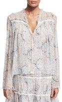 See by Chloe Long-Sleeve Floral Tie-Front Blouse, Off White