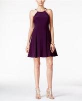 Betsy & Adam Petite Embellished Halter Fit & Flare Dress