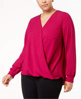 Alfani Plus Size Studded Crossover Top, Created for Macy's