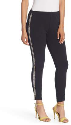 Gracia Rhinestone Stripe Fleece Lined Leggings