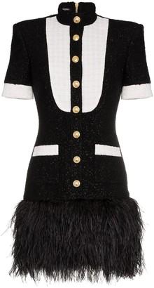 Balmain Contrast Bib Button Down Mini Dress