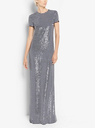 Michael Kors Stripe Sequined Silk-Georgette T-Shirt Gown
