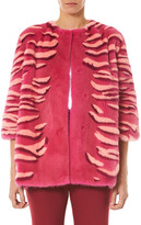 Carolina Herrera Striped Intarsia Mink Fur Jacket