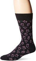 Happy Socks Men's 1pk Unisex Combed Cotton Crew-Black/Pink Hello
