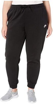 Nike Plus Size NSW Essential Pants Regular Fleece (Black/White) Women's Casual Pants