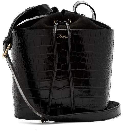 A.P.C. Clara Crocodile Effect Leather Bucket Bag - Womens - Black