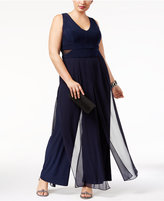 Xscape Evenings Plus Size Sheer-Inset Jumpsuit