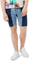 Topman Men's Spliced Slim Fit Denim Shorts