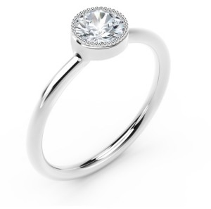 Forevermark Tribute Collection Diamond (1/4 ct. t.w.) Ring with Mill-Grain in 18k Yellow, White and Rose Gold